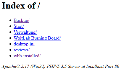 Apache/2.2.17 (Win32) PHP/5.3.5 Server at localhost Port 80