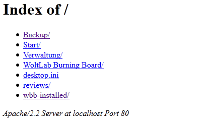 Apache/2.2 Server at localhost Port 80