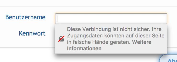 Die Verbindung ist nicht sicher. Ihre Zugangsdaten könnten auf dieser Seite in falsche Hände geraten.