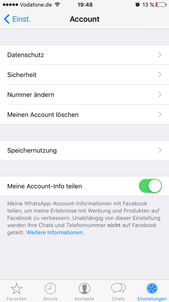 Meine Account-Info teilen – WhatsApp-Einstellungen
