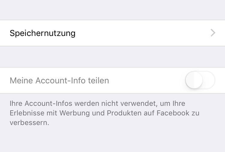 Account-Info wird nicht mehr geteilt