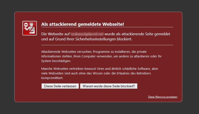 Als attackierend gemeldete Webseite!