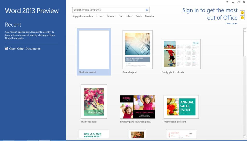 Word 2013 Preview – Startbildschirm
