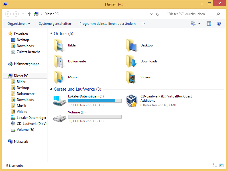 Windows-Explorer ohne Ribbon-Oberfläche