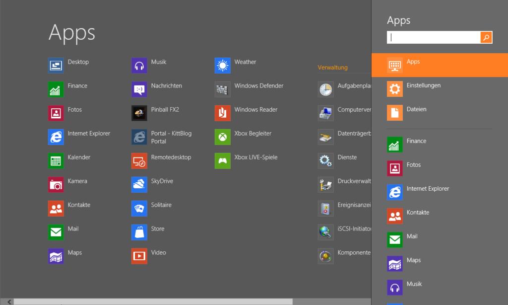 Modern UI: Alle Apps