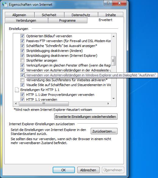 Verwenden von AutoVervollständigen in Windows Explorer und im Dialogfeld Ausführen