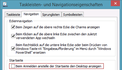 Beim Anmelden anstelle der Startseite den Desktop anzeigen