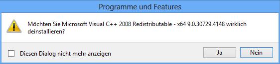 Möchten Sie Microsoft Visual C++ 2008 Redistributable - x64 9.0.30729.4148 wirklich deinstallieren?