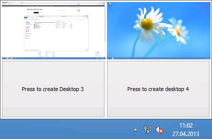 Desktopauswahl im System-Tray