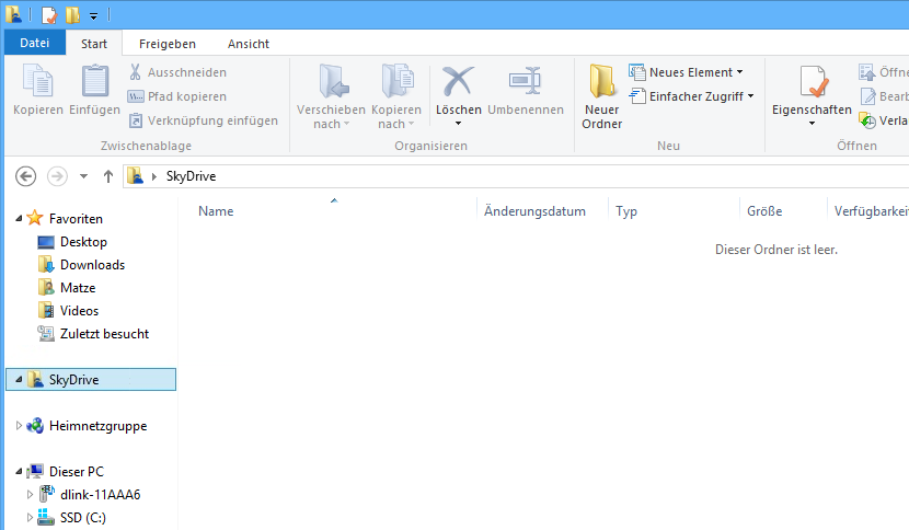 SkyDrive in der Navigationsleiste