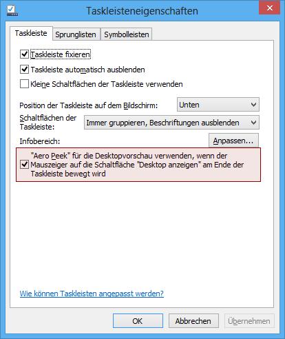 Aero Peek für die Desktopvorschau verwenden, wenn der Mauszeiger auf die Schaltfläche Desktop anzeigen am Ende der Taskleiste bewegt wird