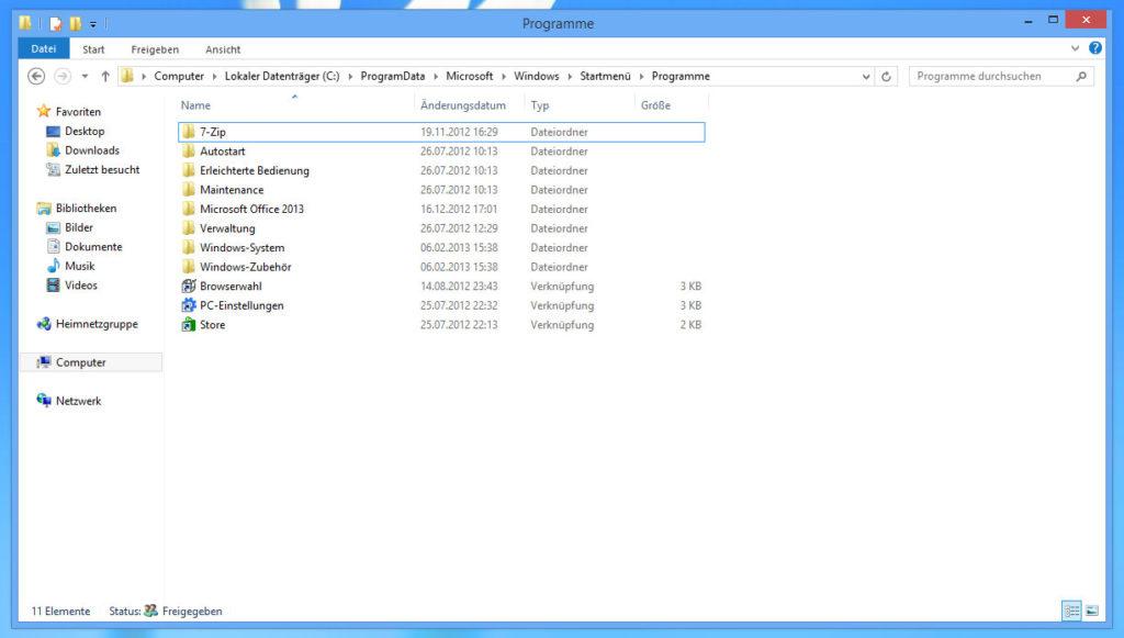 Startmenü-Programme ohne Desktop