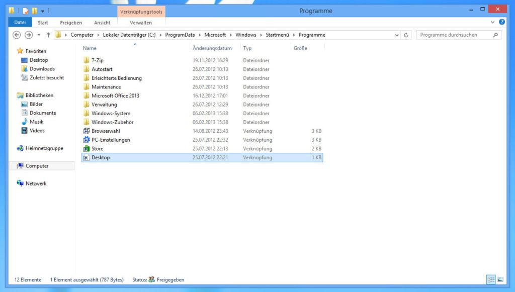 Startmenü-Programme mit Desktop