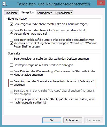 Beim Aufrufen der Startseite automatisch die Ansicht Alle Apps anzeigen