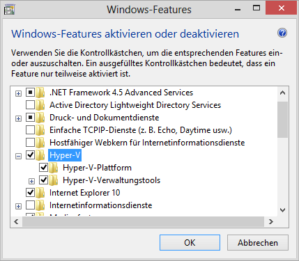 Windows-Features: Hyper-V
