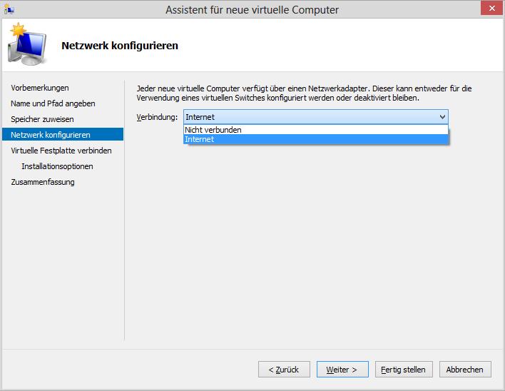 Assistent für neue virtuelle Computer: Netzwerk konfigurieren – Verbindung