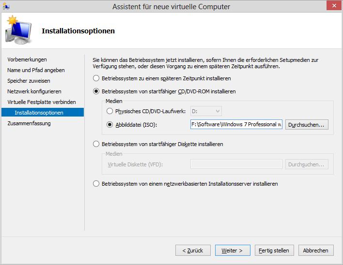 Assistent für neue virtuelle Computer: Betriebssystem von startfähiger CD/DVD-ROM installieren