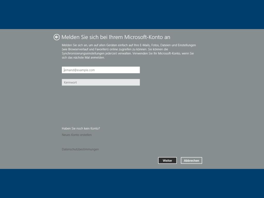 Melden Sie sich bei Ihrem Microsoft-Konto an