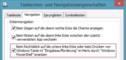 Beim Rechtsklick auf die untere linke Ecke oder beim Drücken von Windows-Taste+X Eingabeaufforderung im Menü durch Windows PowerShell ersetzen