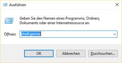 Ausführen-Dialog shell:games