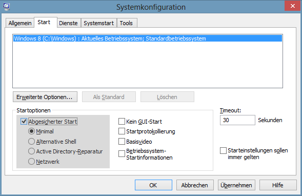 Systemkonfiguration: Abgesicherter Start