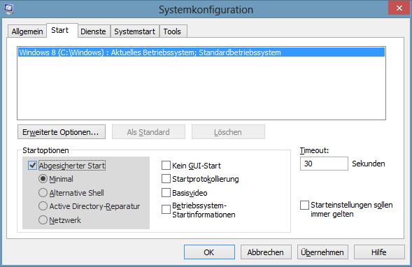 Systemkonfiguration: Abgesicherter Start