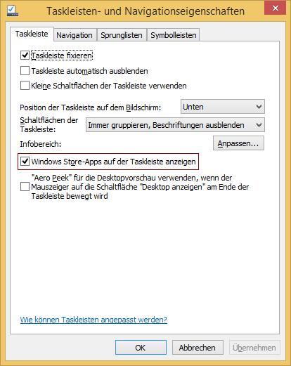 Windows Store-Apps auf der Taskleiste anzeigen