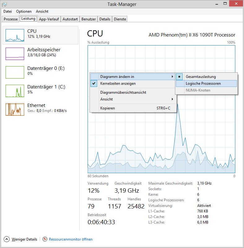 Task-Manager Kontextmenü: Diagramm ändern in – Logische Prozessoren