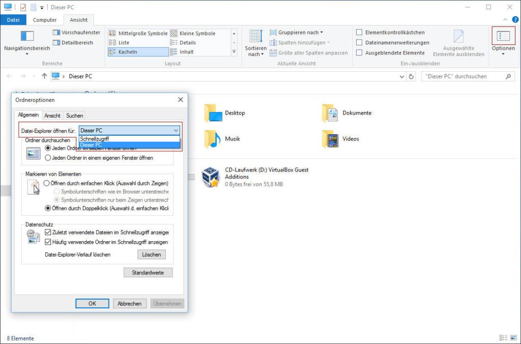 Datei-Explorer öffnen für: Dieser PC