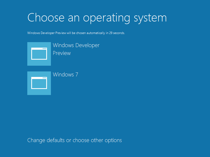 Windows 8 Bootloader: Choose an operating system