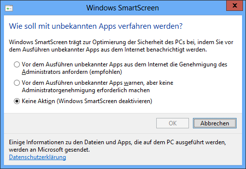 Windows SmartScreen: Keine Aktion (Windows SmartScreen deaktivieren)