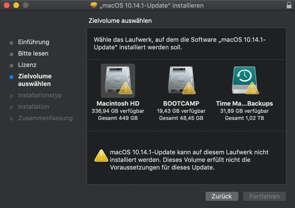 macOS 10.14.1: Installieren Volume