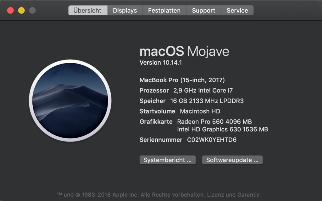 macOS 10.14.1: Über diesen Mac