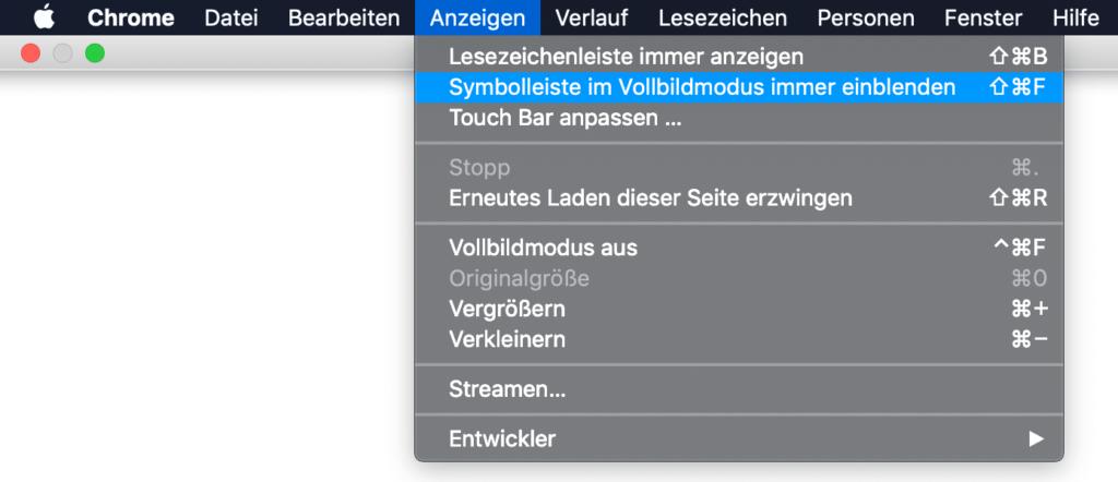 Chrome – Symbolleiste im Vollbildmodus