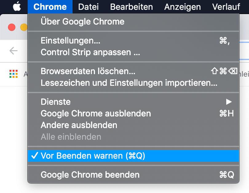 Chrome – Vor Beenden warnen
