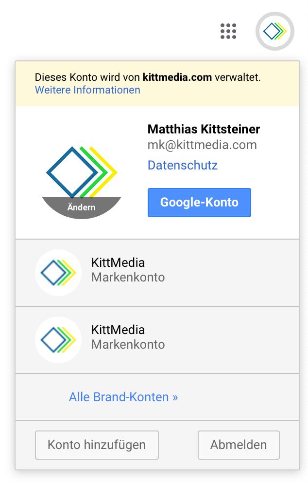 Drop-down-Menü mit Link zum Google-Konto