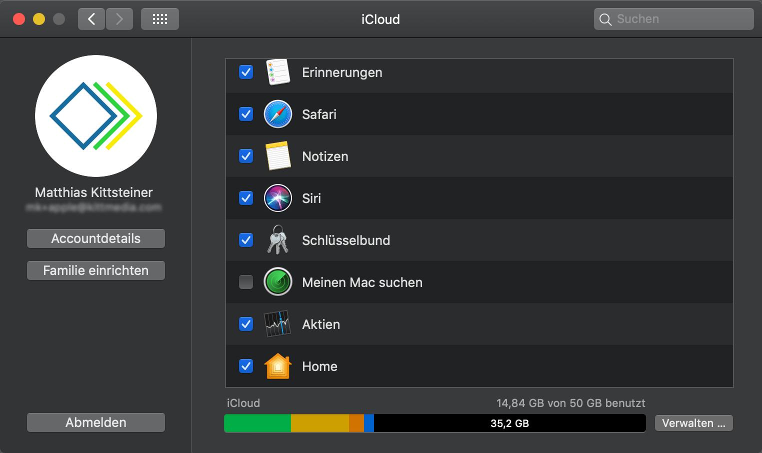 Meinen Mac suchen in iCloud deaktiviert