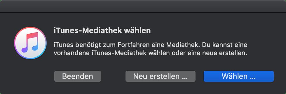 iTunes-Mediathek wählen bei gedrückter Wahltaste