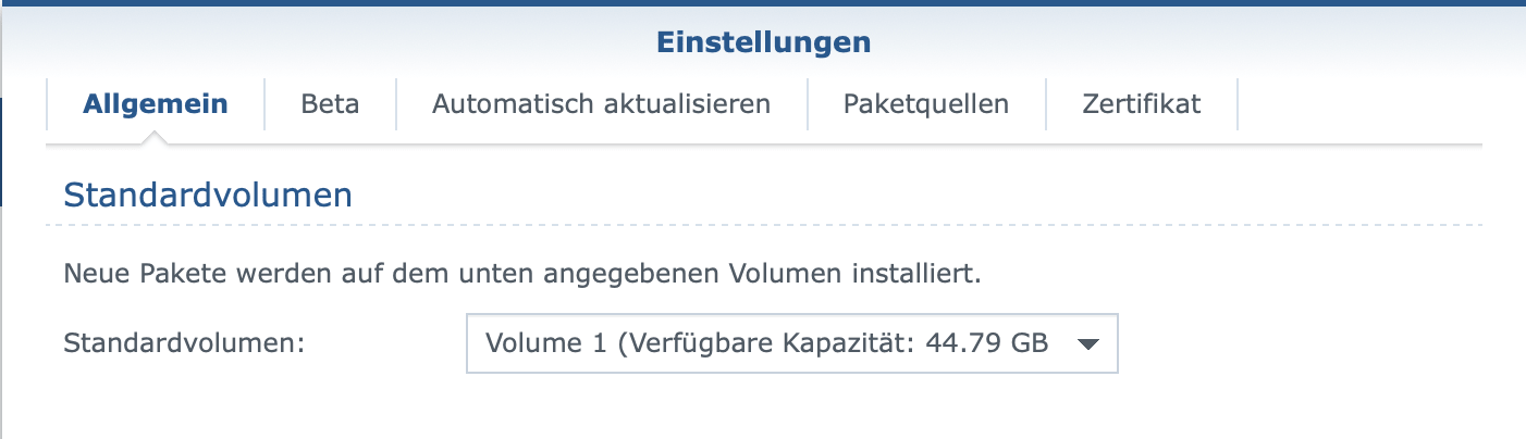 Synology-Einstellungen: Standardvolumen