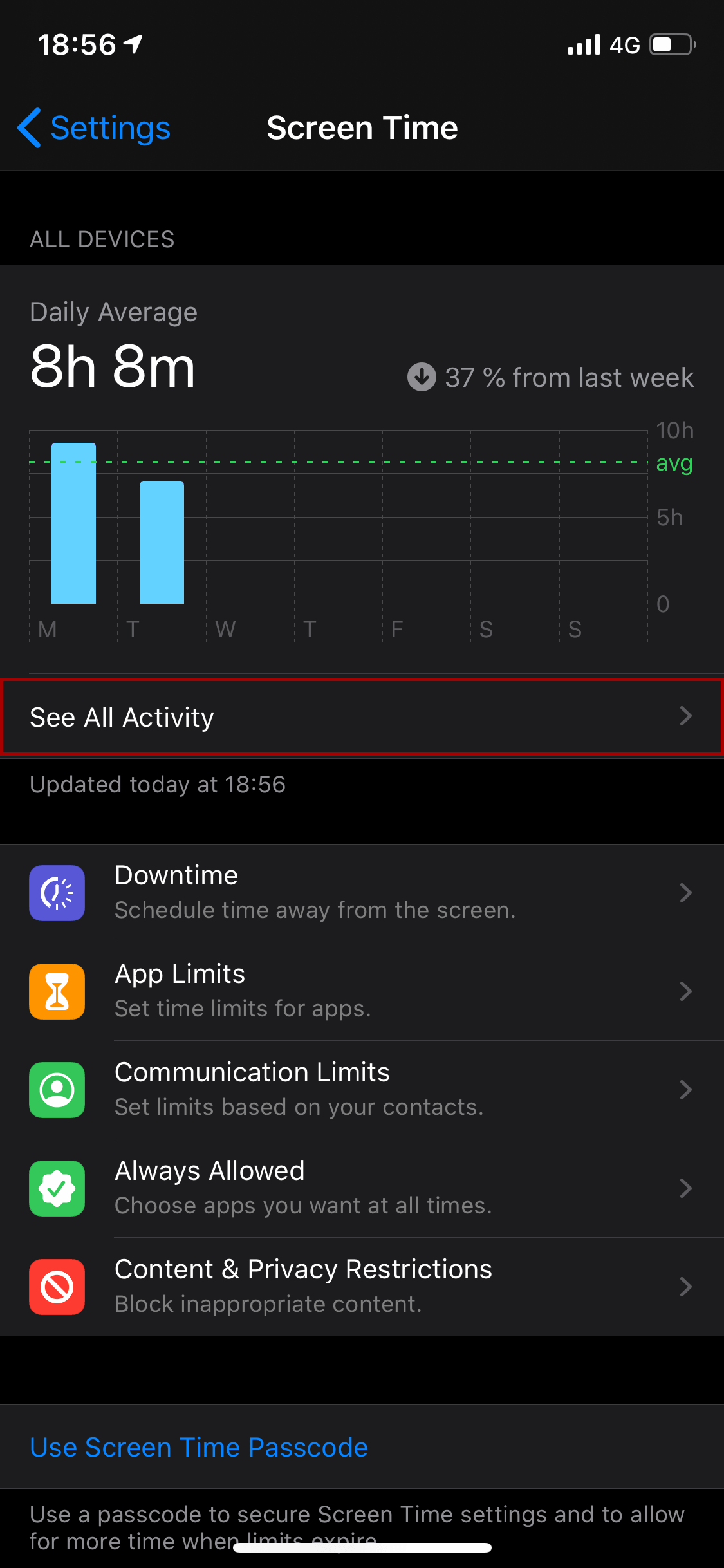 Screen Time: See All Activity