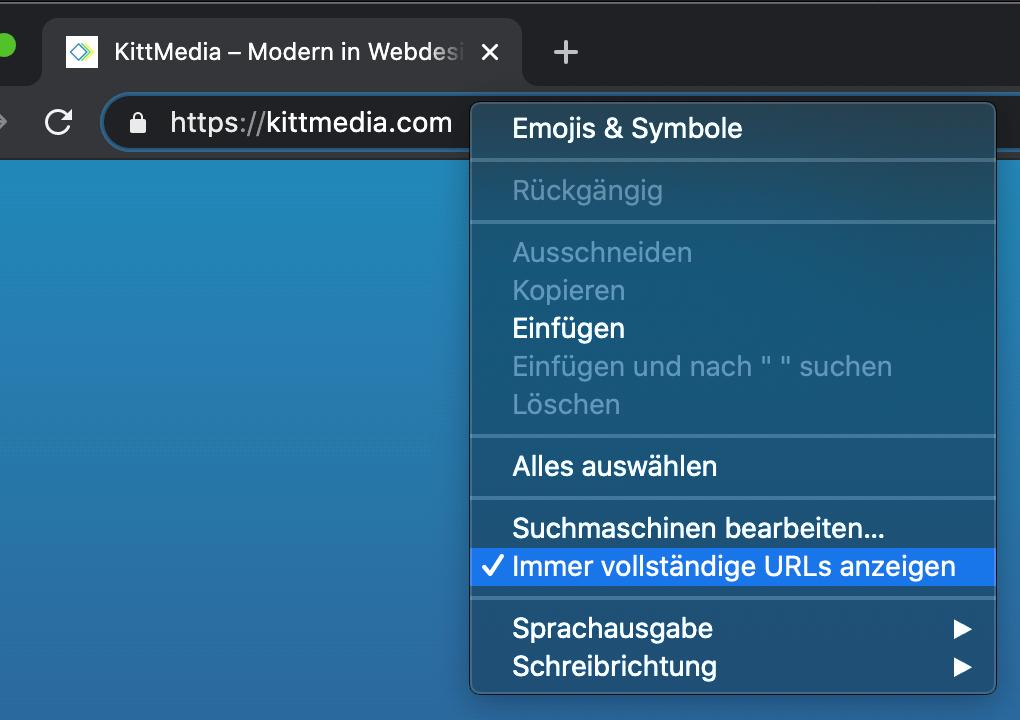Immer vollständige URLs anzeigen