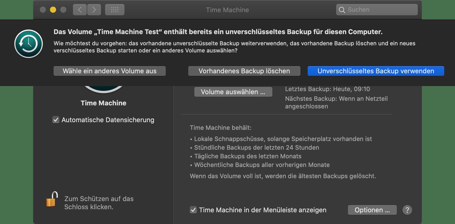"""Das Volume """"Time Machine Test"""" enthält bereits ein unverschlüsseltes Backup für diesen Computer."""