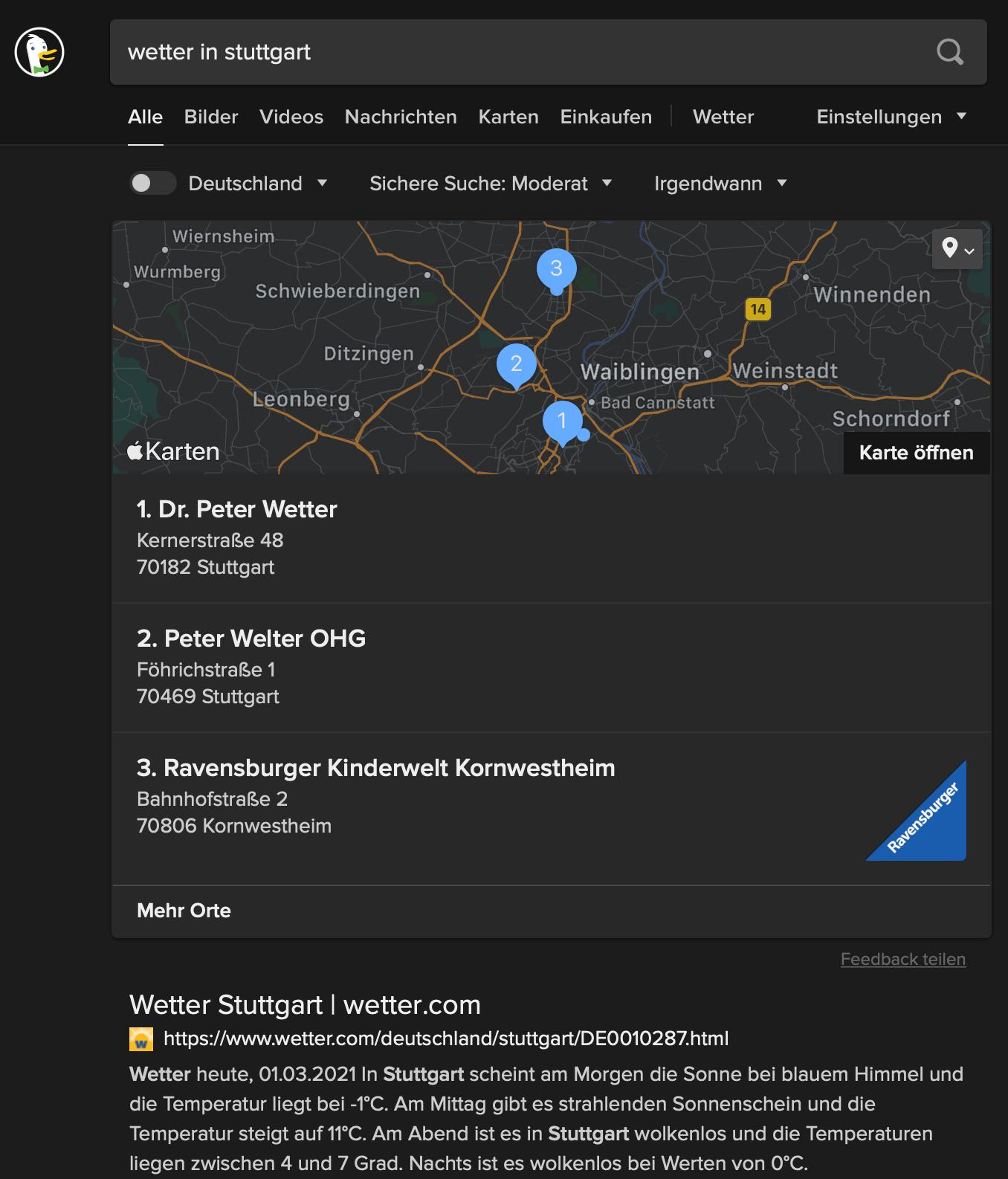 """Wetter in Stuttgart"" bei DuckDuckGo"