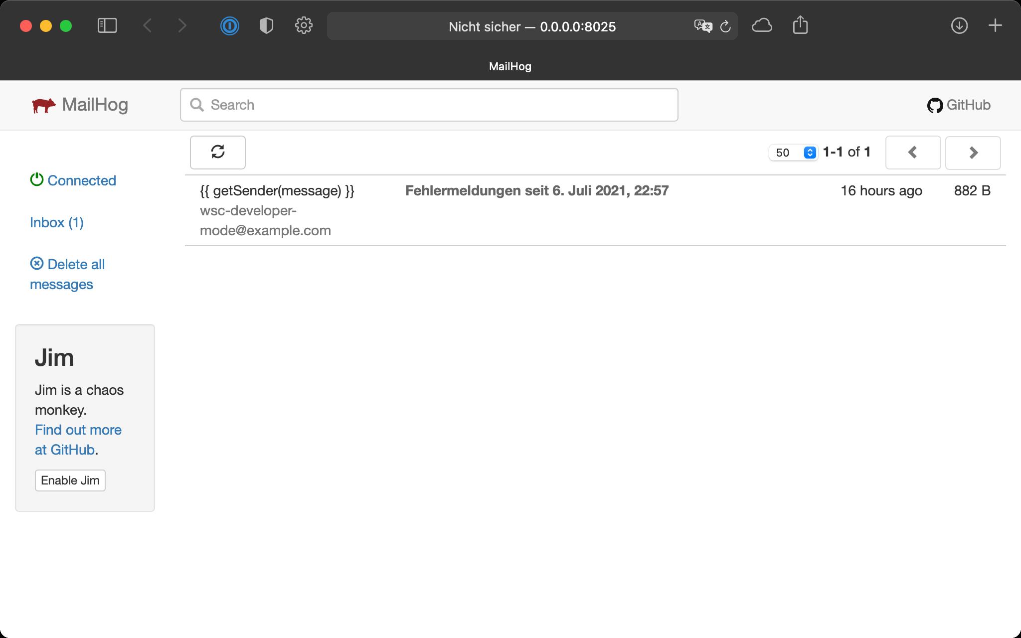 Weboberfläche von MailHog
