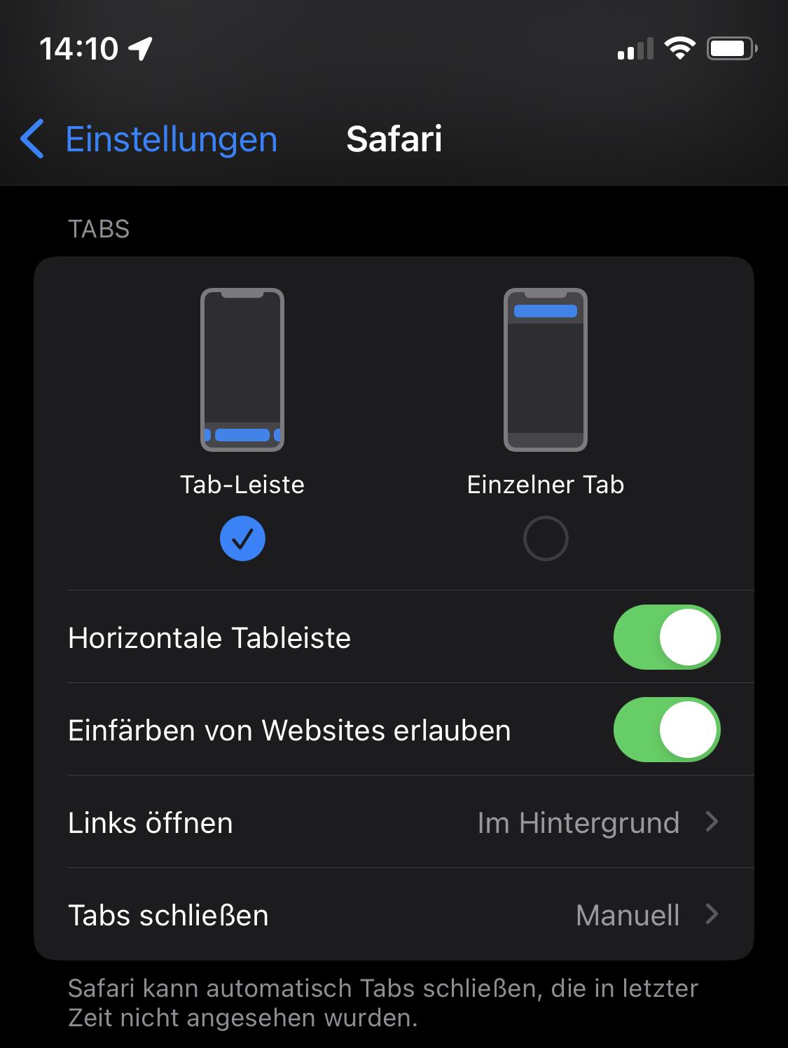 iOS 15 (Safari): Tabs-Einstellungen